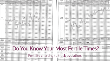 "Photo of a sheet of paper with a BBT chart on it with text on top that reads ""Do you know your most fertile times? Fertility charting to track ovulation"""